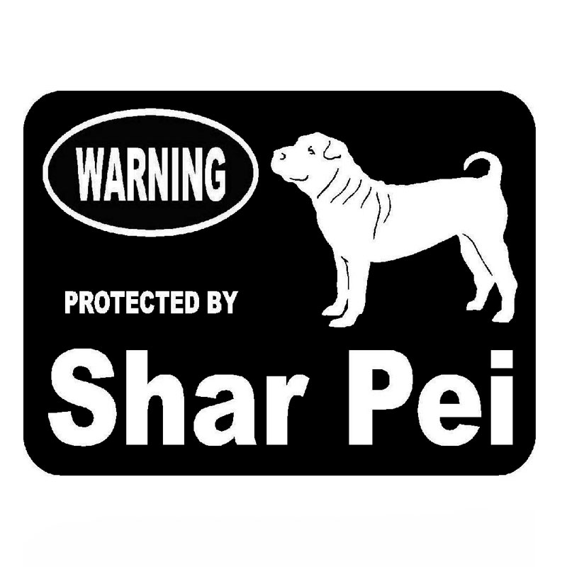 14.4cm*10.9cm Car Styling Protected By Shar Pei Personality Vinyl Car Stickers C5-1943