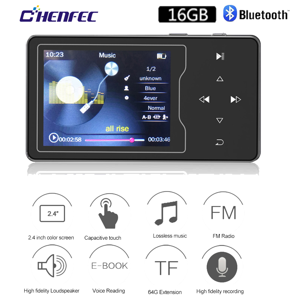 HIFI MP3 Player With Bluetooth4.0 Touch Button Built-in Speaker 16GB With 2.4 Inch TFT Screen Lossless MP3 Music Player With FM