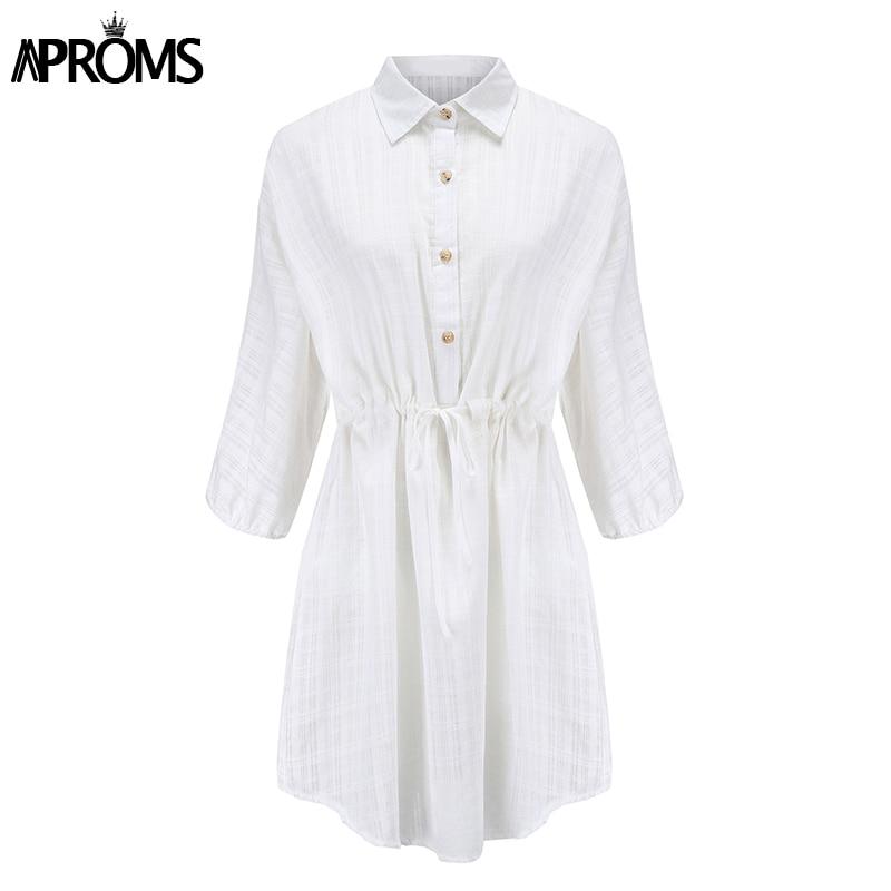 Aproms Elegant Cotton Linen 3/4 Sleeve Shirt Dress Summer 2020 Beach Style Drawstring Waist White Loose Dresses Female Vestidos 2