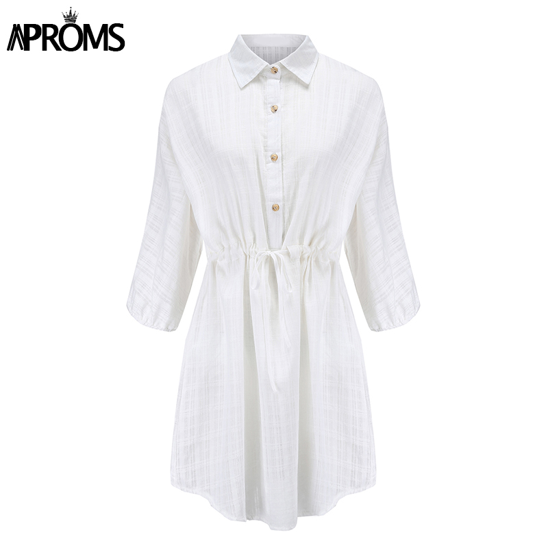 Aproms Elegant White Plaid Shirt Dress Women Autumn Half Sleeve Loose Dresses Big Size Streetwear Casual Tunic Cotton Dress 2020 3