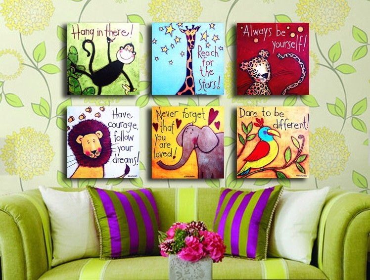 6 piece linen fresh color cute animals oil painting monkey - Cute colors to paint your room ...