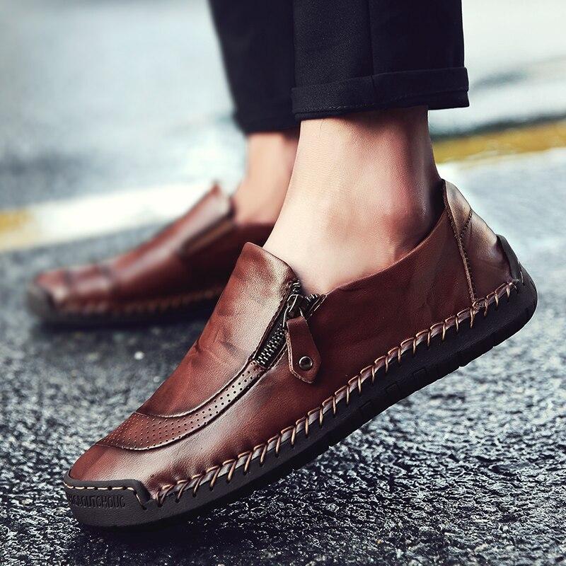 2018 zapatos para hombre de cuatro estaciones de moda Casual suave cómodo cosido a mano Slip On punta redonda cuero genuino plano DE COSER rojo-in Mocasines from zapatos    1