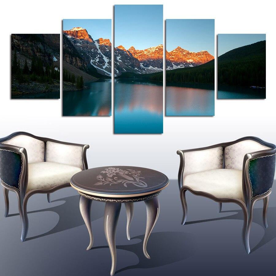 5 Pcs Large HD Seaview Mountain Range Canvas Print
