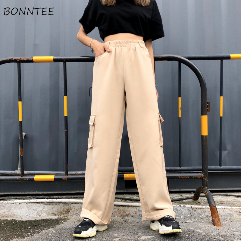 Pants   Women Full Length Solid Pockets All-match Trendy Womens 2019 New Chic Korean Style Loose   Wide     Leg     Pant   Comfortable Daily