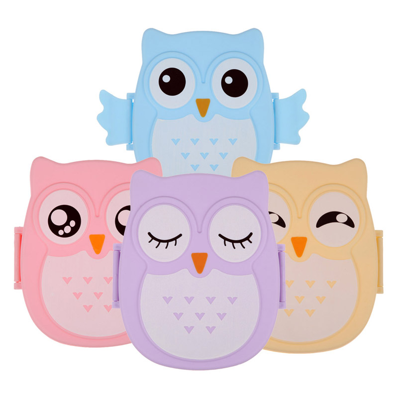 2 layer cartoon owl lunchbox bento lunch food fruit storage container plastic lunch bento. Black Bedroom Furniture Sets. Home Design Ideas