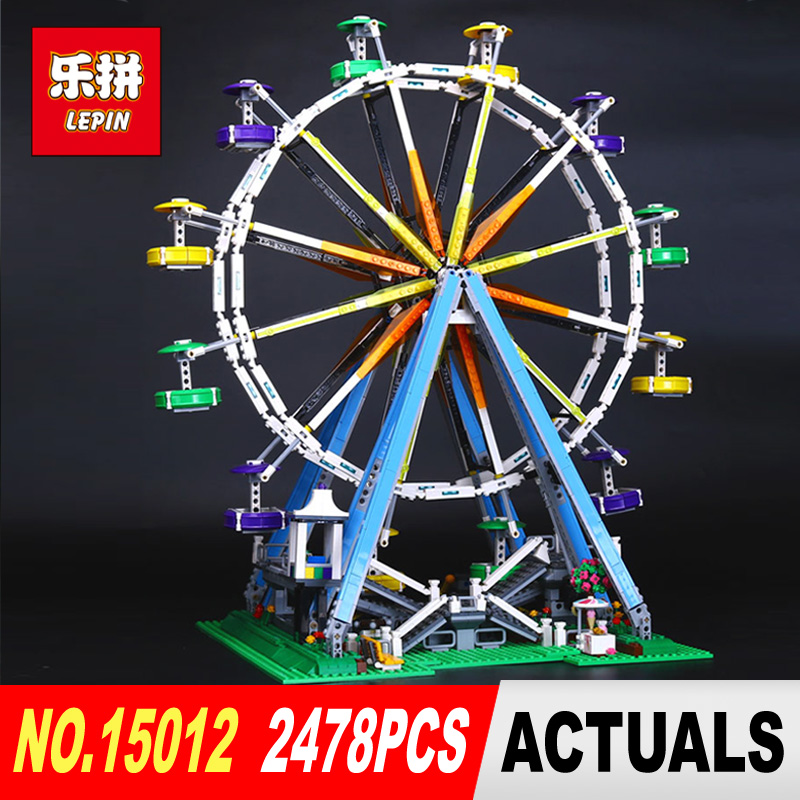 LEPIN 15012 2478Pcs City Expert Ferris Wheel Model Building Kits Block Bricks Compatible Toy 10247 DIY Educational Children Gift dhl lepin 15012 2518 pcs city expert ferris wheel model building kits blocks bricks toys compatible with legoingly 10247