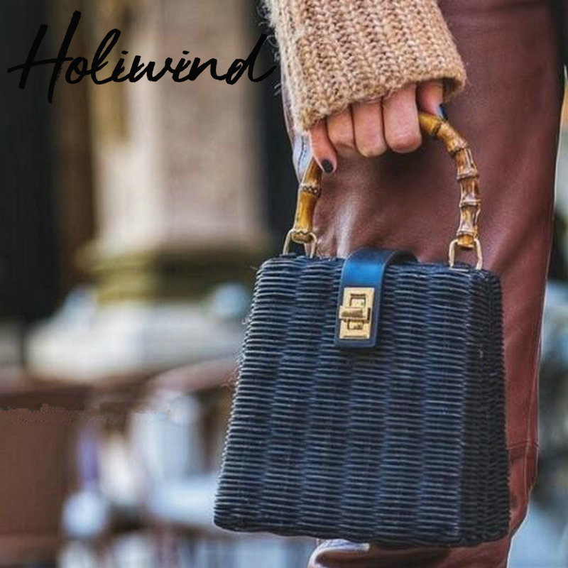 2019 Trendy Street Style Handmade Rattan Woven Bag Beach Style Bohemian Bucket Bags Summer Straw Handbags