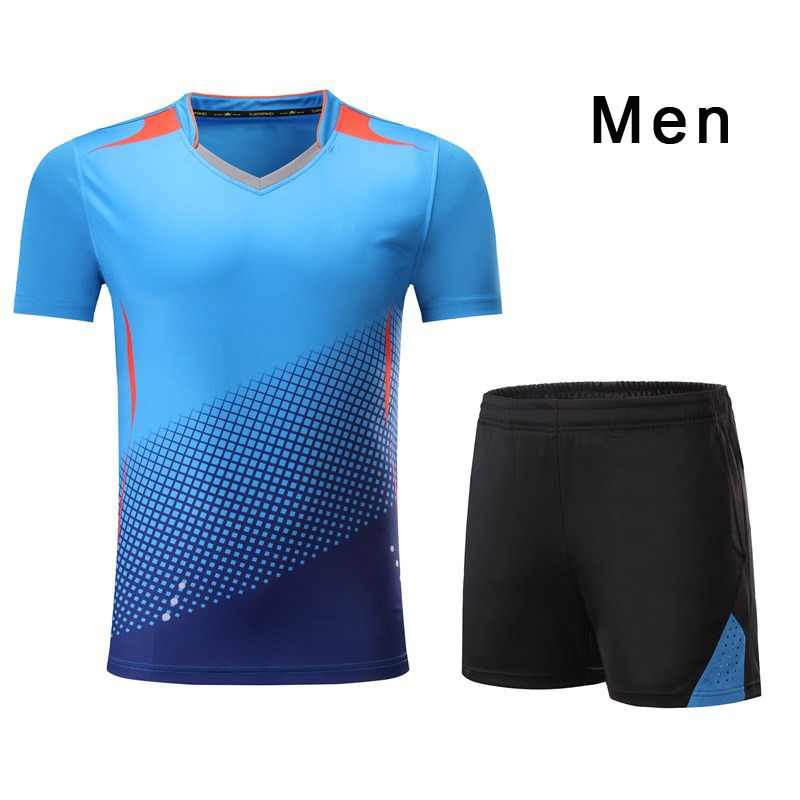 Qucik Dry Men Women Tennis Shirt Set Badminton Clothing Tennis Set Table Tennis Clothes Breathable Sports Shirt Short Suit Wear