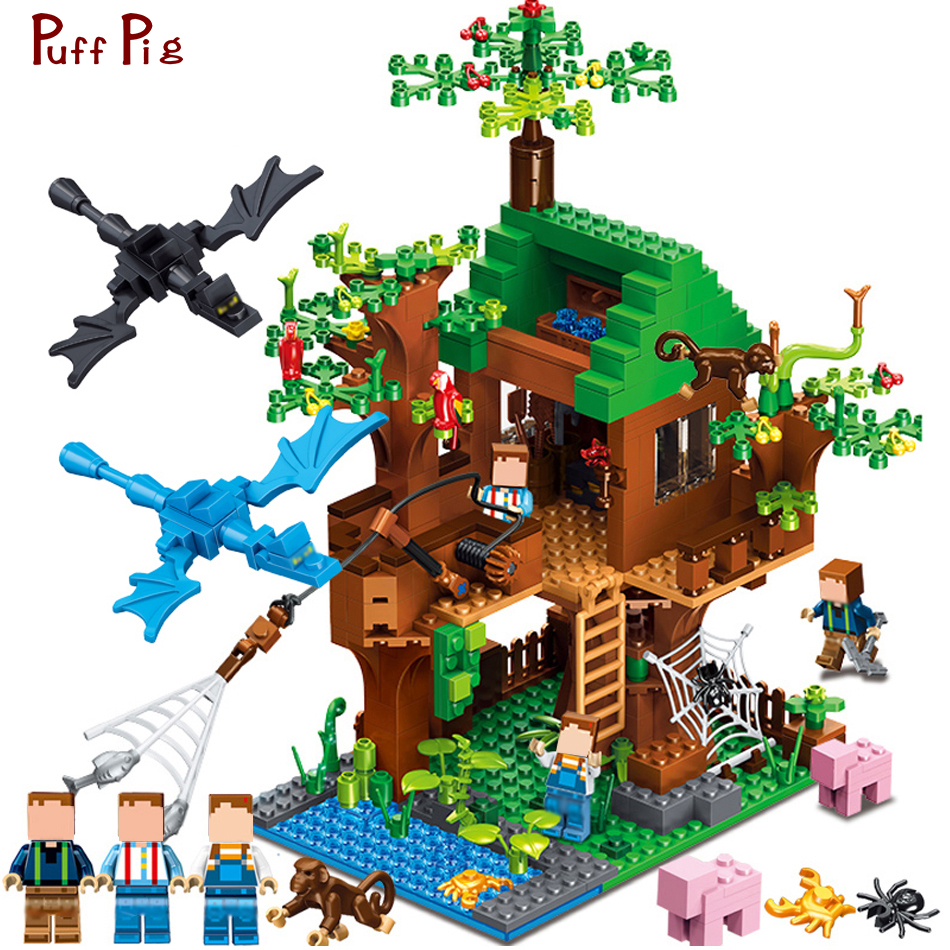 Minecrafted Classic Tree House My world Compatible Legoed City Figures Building Blocks Bricks Toys For Children Christmas lepin my world 406pcs classic tree house legoingly minecraft model figures building blocks bricks kids toys for children gift