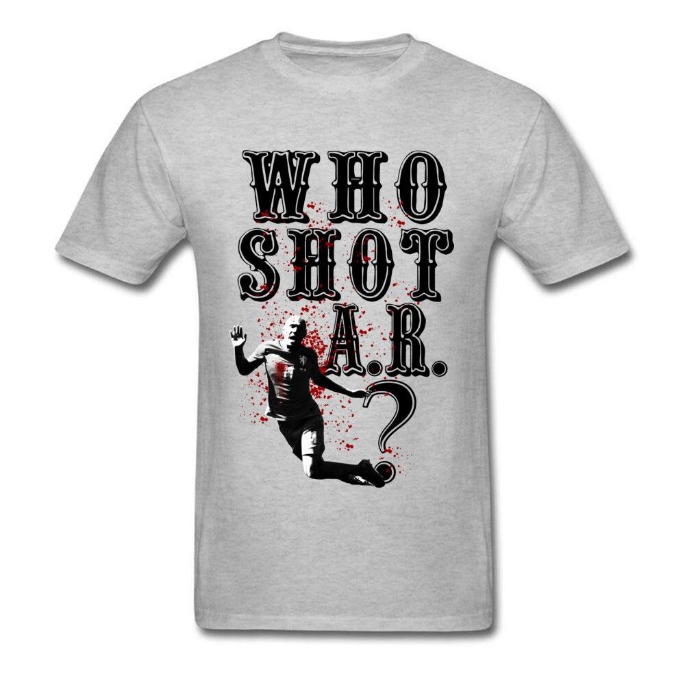 Who Shot A.R? T-shirt Men Funny Tshirt O-Neck T Shirt Grey Summer/Autumn Tees 2018 Cotton Crazy Sweatshirts Top Quality
