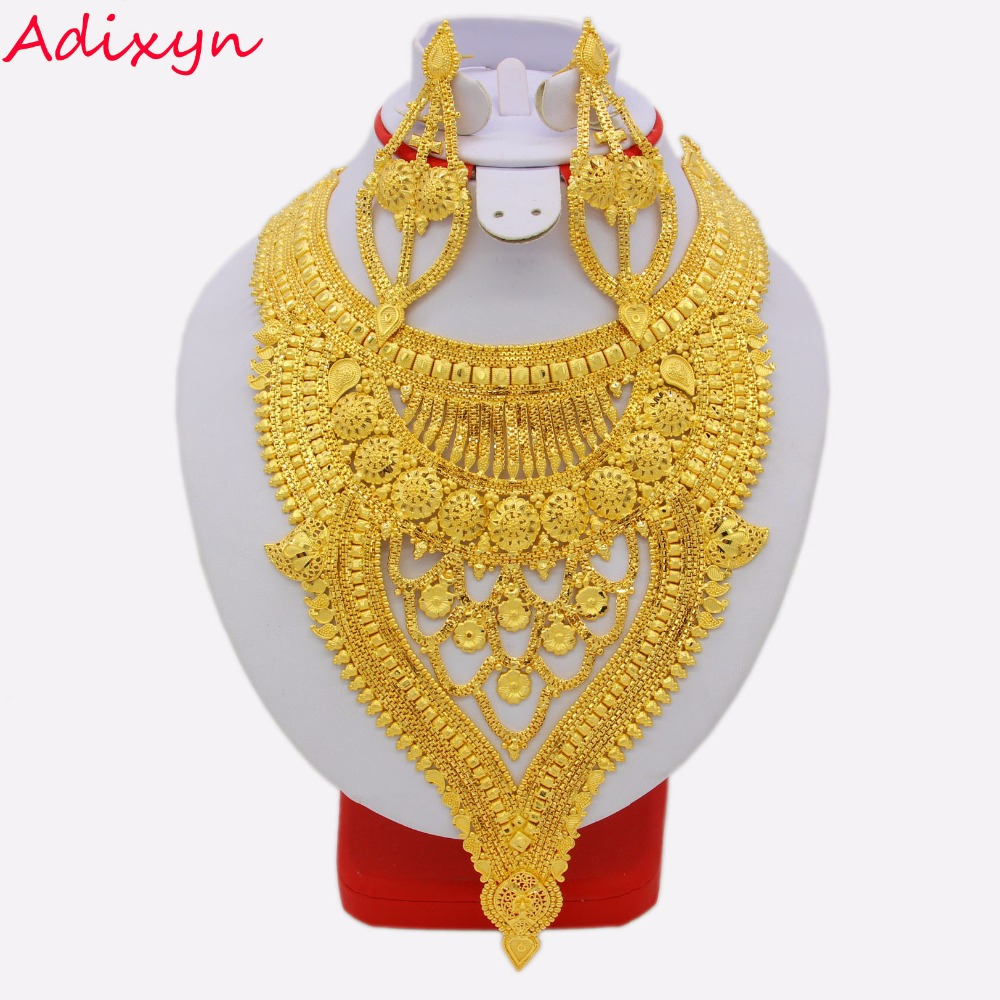 NEW Dubai Necklace Earrings Jewelry Set for Women Gold Color Copper African Arab Middle East Wedding