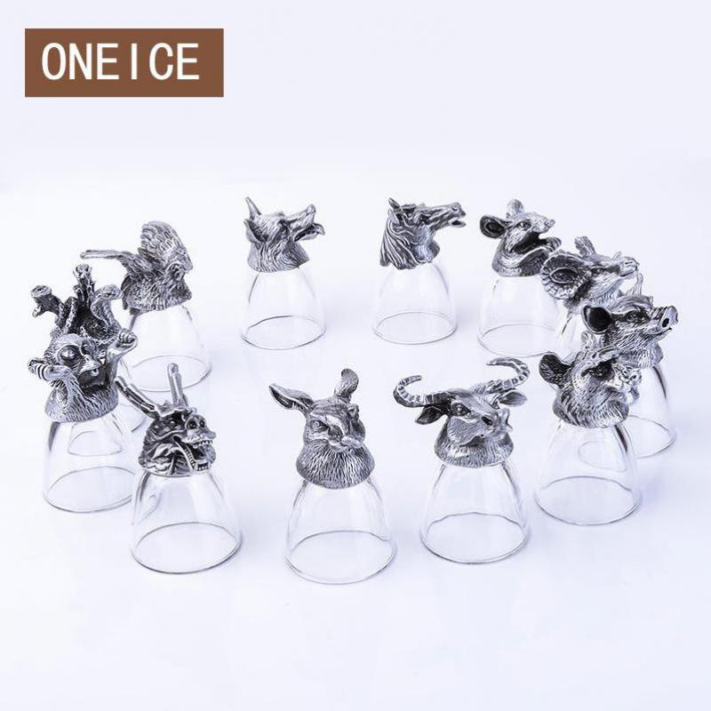 12 verres à vin blanc zodiaque chinois Set verre créatif petite tasse de décoration de la maison tasses à thé