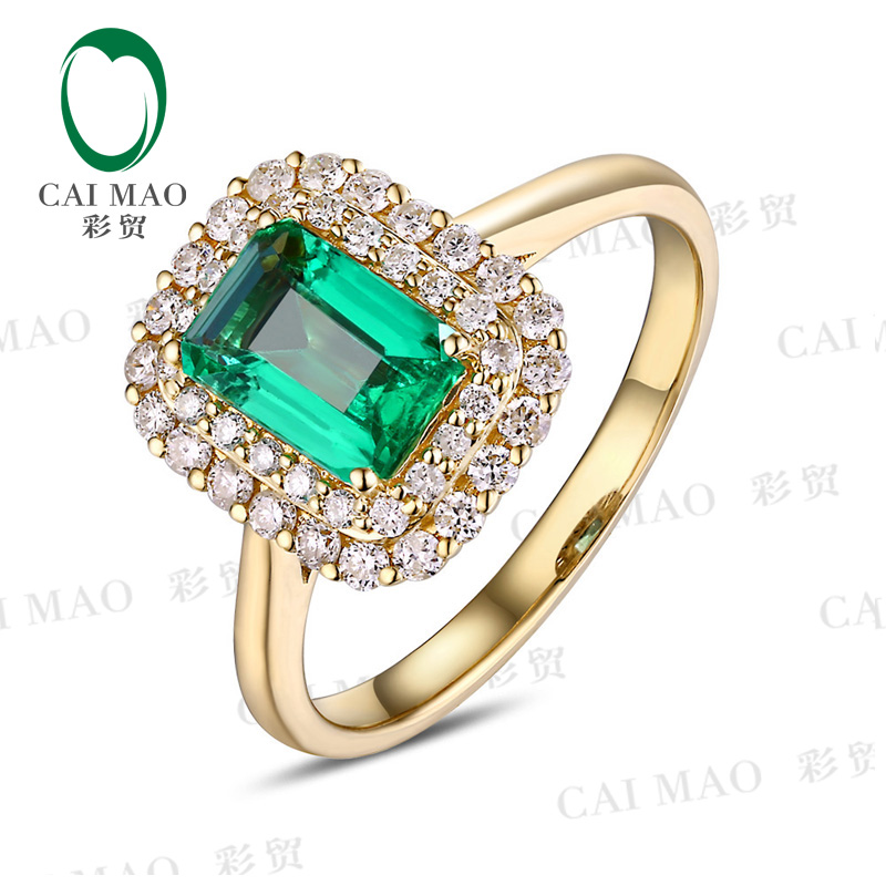 c9de3a0b4191 CaiMao 14KT 585 oro amarillo 1.09ct Esmeralda 0.43ct redondo corte Diamante  de compromiso de piedras preciosas anillo de joyería