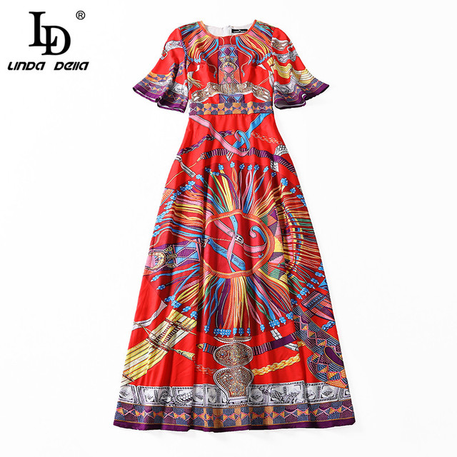 Runway Maxi Dress Women's Flare Sleeve Vintage Printed Party Long Dress High Quality