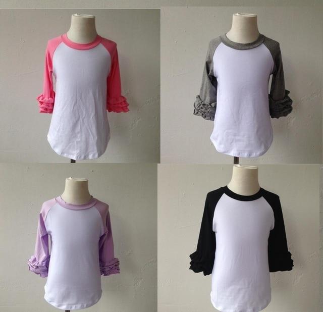 0645b5e6d baby girl cotton clothes children party blouse top ruffle sleeve shirt long  sleeve raglan shirt Multicolor optional apparel