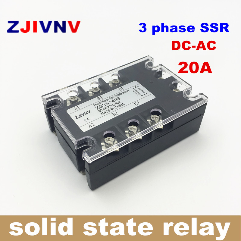 High quality 20A three phase solid state relays 3-32vdc control 90~480vac, 3 phase ssr solid state relay 12V