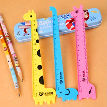 20 pcs/lot Students Artisti Cute Cartoon Animal Rulers For Kids Plastic Straight Ruler Creative lovely Stationery mix colour