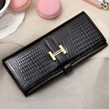 Classic H buckle Genuine leather ladies Long Wallet High grade Alligator pattern women wallets Casual Purses 2017 New