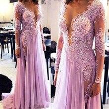 Schöne Licht Lila Chiffon Abendkleid mit Long Sleeve Sexy Seitenschlitz Applique Prom Night Kleider