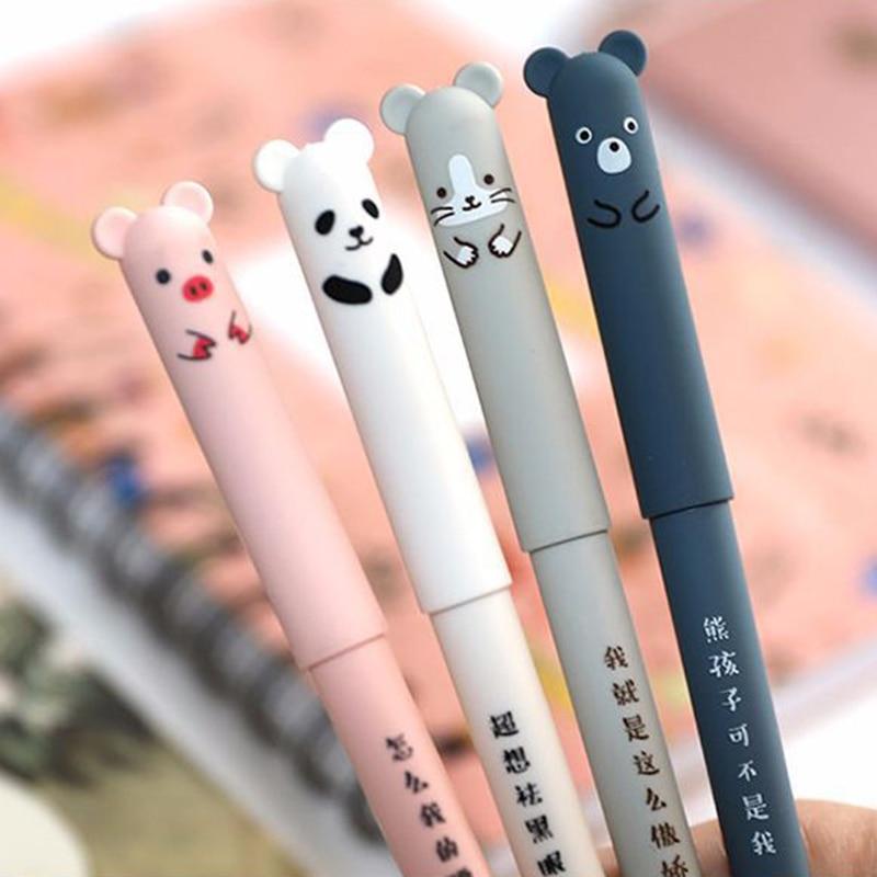 Cartoon Animals Erasable Pen 0.35mm Cute Panda Cat Magic Pens Kawaii Gel Pens For School Writing Girls Gifts Novelty Stationery