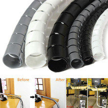 1Meter 8mm Spiral Office Home Wire Wrap Sleeving Band Tube Cable Protector Line Management with Clip Tool