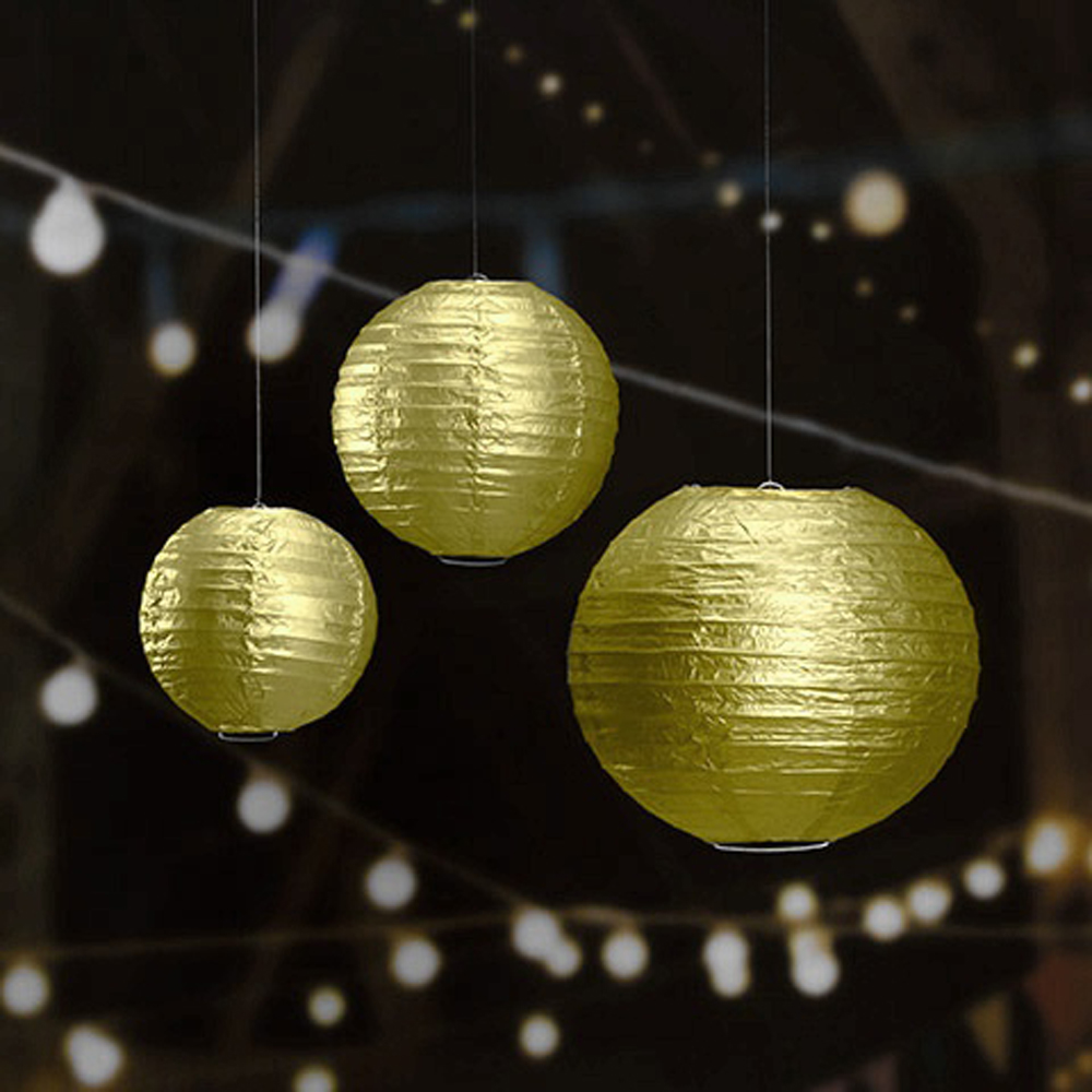 "10pcs/lot 6"" 16""Metallic Gold/Silver Paper Lanterns Led ..."