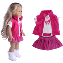 3 Items A Set 18 Inch Girl Doll Clothes Jeans Coat +skit +white Shirt for 43cm  Baby Dolls Suit Wear