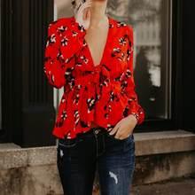 ef66c5e067 2018 Primavera Mulheres V Profundo Neck Blusas Camisas Moda Vermelho flor  Mangas Compridas Com Arco Laços Elegantes Blusas High .