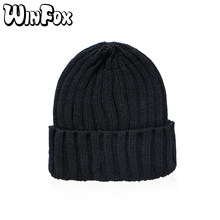 688ae882e9c Winfox New Brand Fashion Winter Unisex Black Grey Red Solid Color Rib  Knitted Beanies Hats For