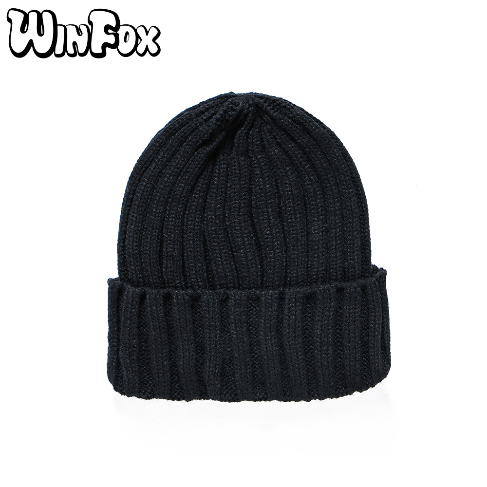 Winfox New Brand Fashion Winter Unisex Black Grey Red Solid Color Rib Knitted   Beanies   Hats For Woman Mens Kids Girls Boys