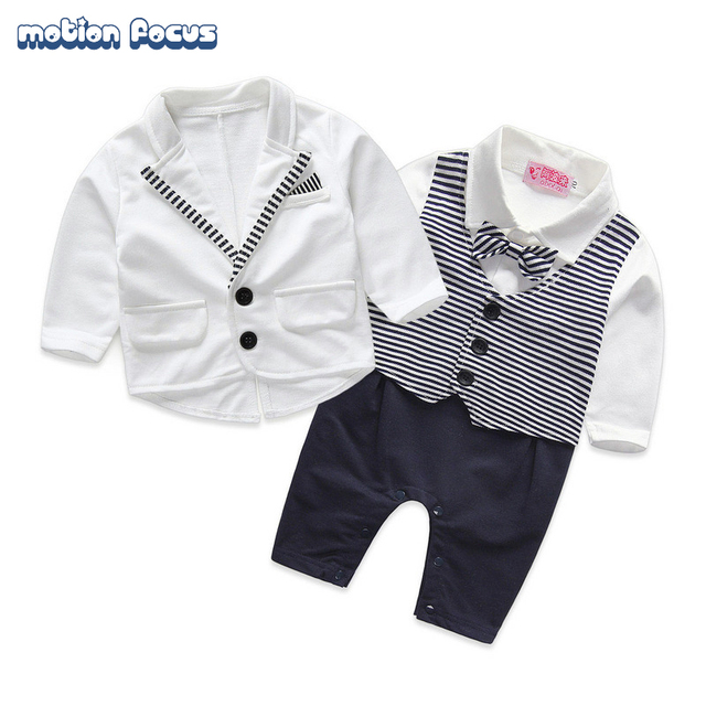 New 2pcs Baby Boys Formal Party Wedding Tuxedo Jumpsuit Gentlemen Romper + Coat Suits Tuxedo Baptism Newborn Clothes
