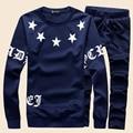 Марка одежды шею длинным рукавом синий Случайные Люди спортивной костюм и Костюм мужской Набор Jogger толстовки + Брюки: М-3XL, KHN062