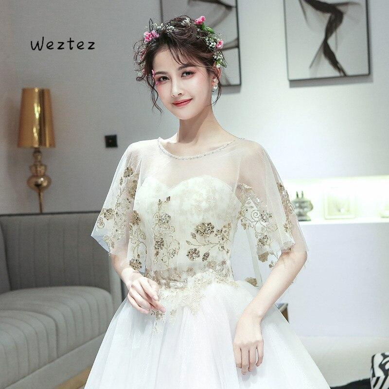 Paillettes d'or appliques de mariée châle enveloppes bijou dentelle vestes de mariage Capes enveloppes mariée veste robe de mariée enveloppes X326