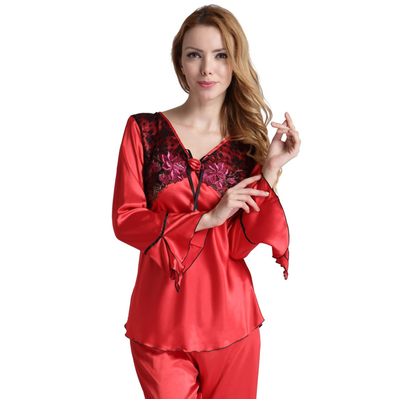 Womens Silk Pajamas Suit Long Sleeve Satin Pajamas Women Satin Sleepwear Embroidery Night Suits Ladies Clothes Women Satin PJS ...