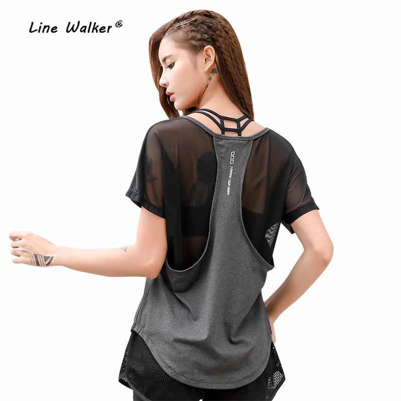 Lijn Walker 2018 Losse Backside Mesh Vrouwen Sexy Top Sportkleding Running Sport Fitness Gym Quick Dry Vrouwelijke Yoga T-shirts