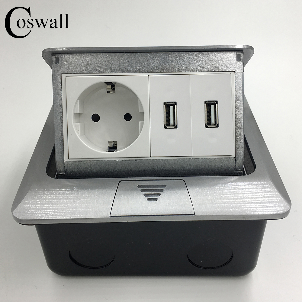 Manufacturer All Aluminum Panel EU Standard Pop Up Floor Socket Single Power...