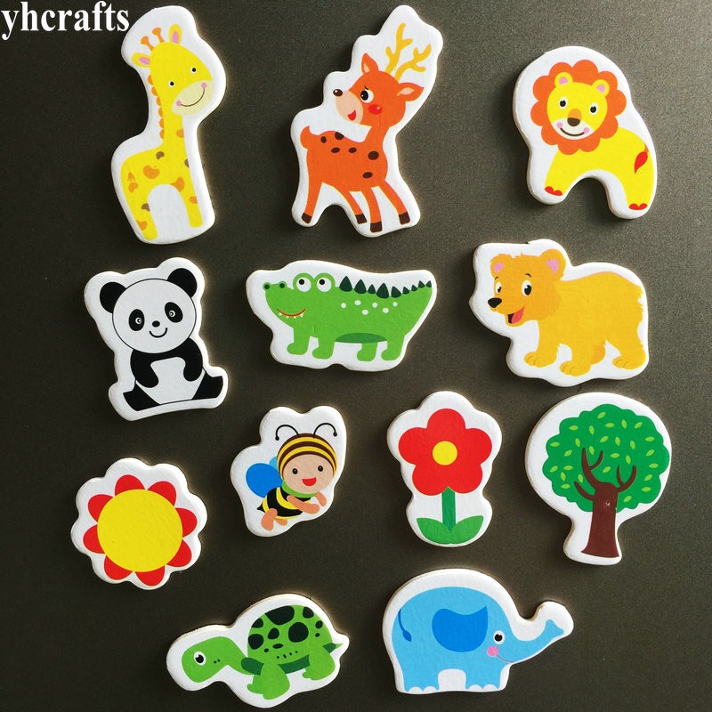 12PCS/LOT. Giraffe Sika Deer Crocodile Panda Turtle Animals Flowers Soft Magnet White Blackboard Magnet Kindergarten Crafts