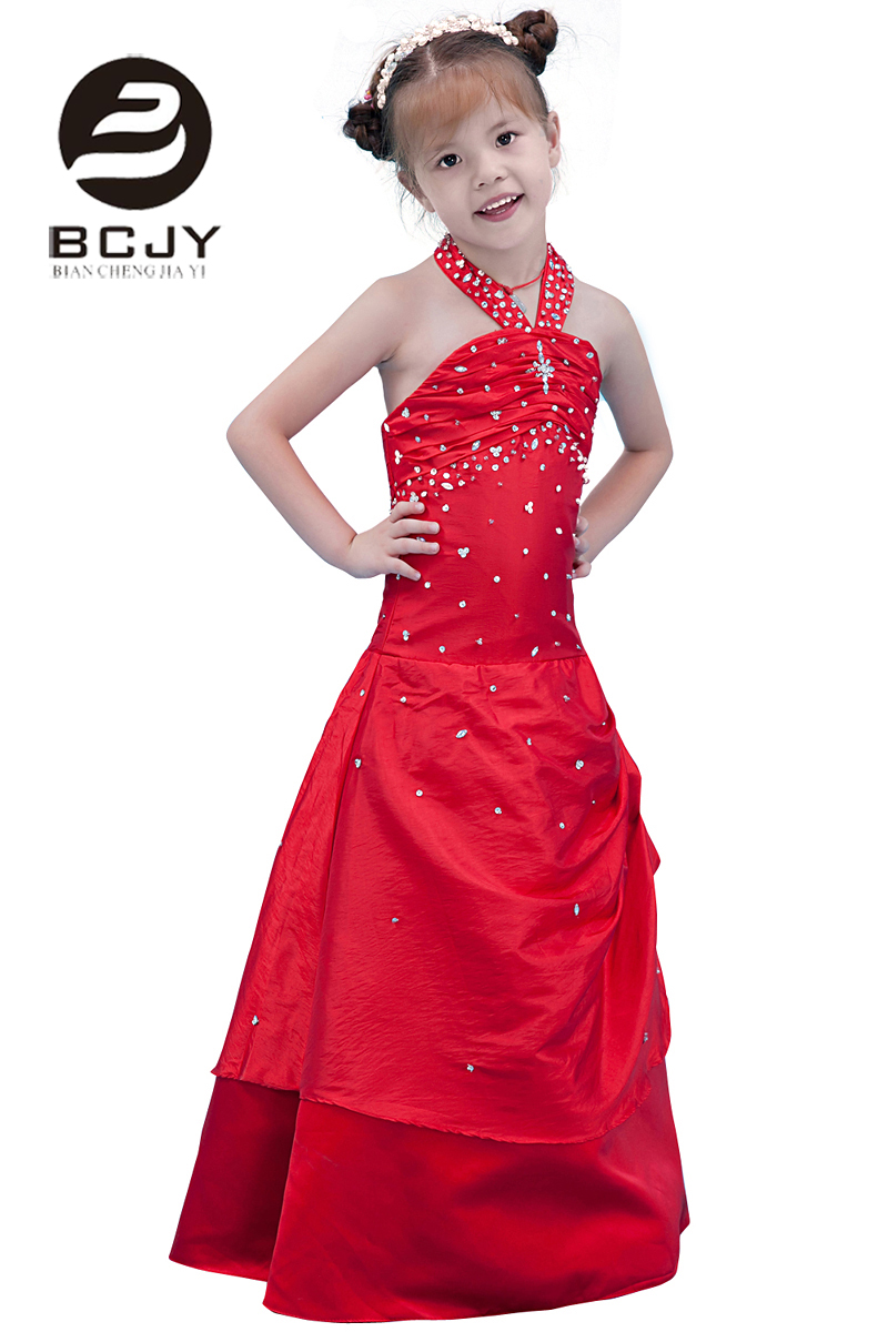 2019 Red   Girls   First Communion   Dresses   For Party Sleeveless Halter Floor Length Crystal with Back Zipper   Flower     Girl     Dresses