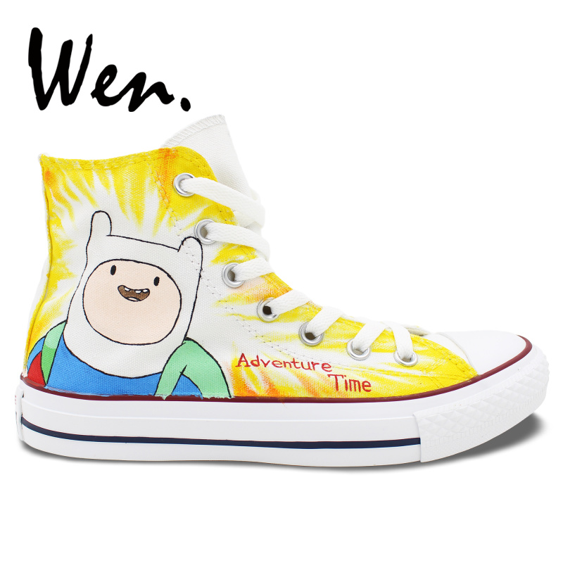 Wen Hand Painted Skateboard Sneakers Design Custom Animation Adventure Time Men Womens High Top Outdoor  Sports Canvas ShoesWen Hand Painted Skateboard Sneakers Design Custom Animation Adventure Time Men Womens High Top Outdoor  Sports Canvas Shoes
