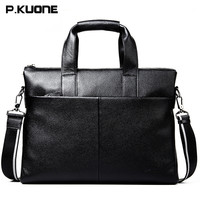 P Kuone Genuine First Layer Cow Leather Men S Bag Handbag Top Brand Fashion Male Briefcase