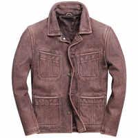 2019 Retro Vintage Braun Männer Amerikanischen Casual Stil Leder Jacke Plus Größe 5XL Echtem Rinds Natürliche Mantel FREIES VERSCHIFFEN