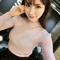 Nueva Primavera Moda mujer suéter de Cuello Alto suéter de Las Mujeres de alta elástico Sólido delgado atractivo apretado de Punto de Tocar Fondo Pullovers MZ815