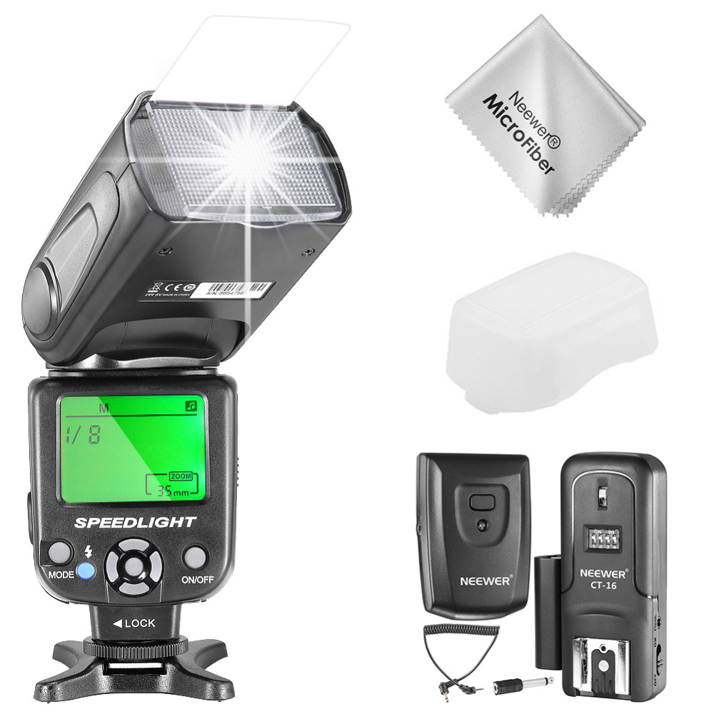 Neewer NW-561 GN38 Manual LCD Display Speedlite Flash Kit for Canon Nikon and Other DSLR Cameras NW561 Flash Hard Diffuser etc neewer nw 561 lcd screen flash speedlite kit for canon nikon and other dslr cameras