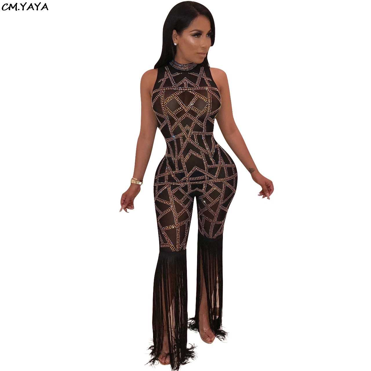 9a5377a30e2 2018 new women winter geometric sequined mesh see though sleeveless tassel  long pants sexy bodycon jumpsuit