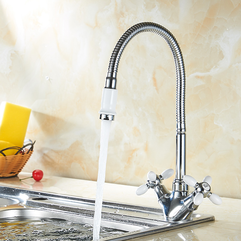 Kitchen Faucet White Brass Mixer Cold Hot Kitchen Sink Faucet 2 Handle Single Hole Mixer Water