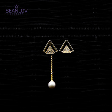 Seanlov 925 Sterling Silver Triangle Single Peal Earrings For Women Fashion Jewelry Gift drop shipping fashion jewelry golden triangle small black white glass drop earrings woman gift