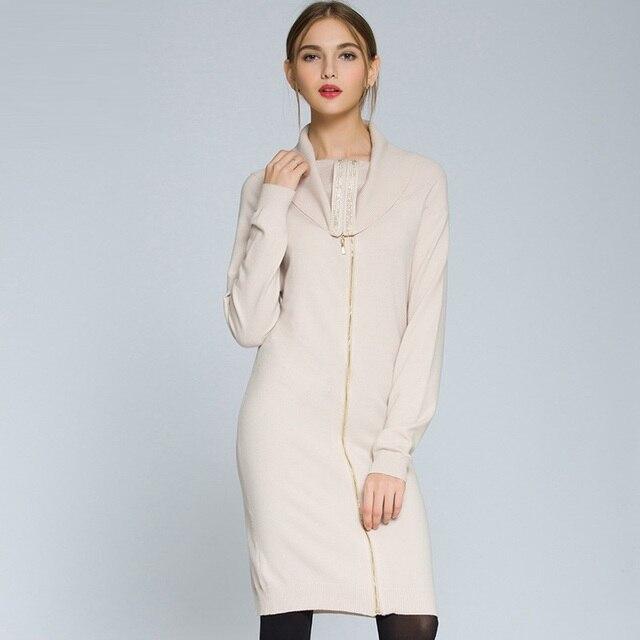 7c69ebc574 2017 Autumn Winter Women Turtleneck Sweater Dress Long Sleeve Casual Cardigans  Zip-up Knitted Mini bodycon Dresses For Women