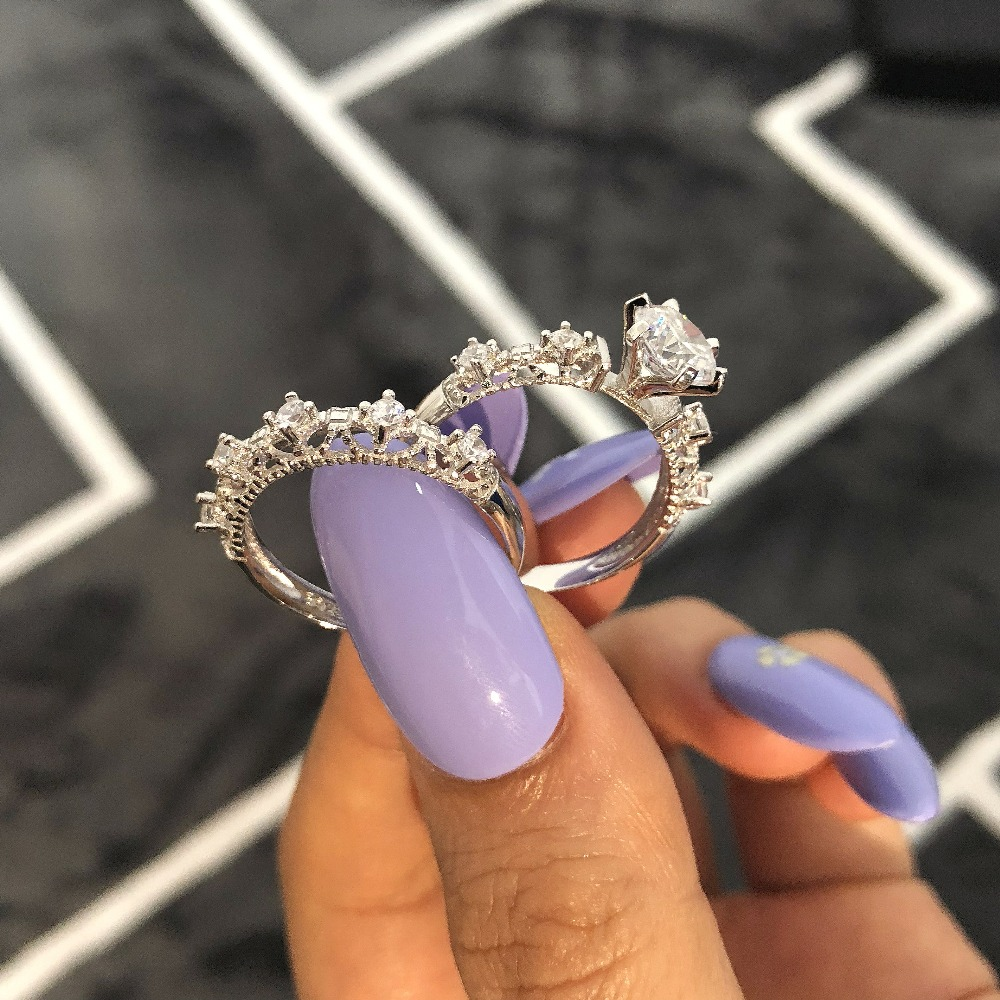 Moonso Hot Fashion! Fine 925 Sterling Silver Filigree Ring AAA for Women Wedding Engagement Fashion Jewelry R1942S