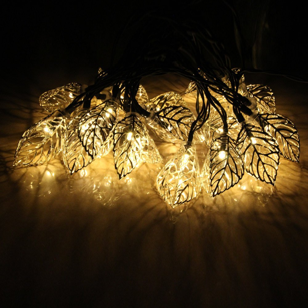 20 LEDs Iron Tree Leaf Solar Charger String Lights LED Night Light Lamp For Holiday Home Party Halloween Christmas Tree Decor