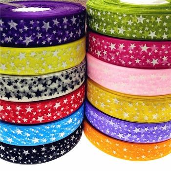 christmas 10Yard/lot  Bling Star Printed Organza Ribbon For DIY Christmas New Year Decoration Gift Wrapping Sewing Craft